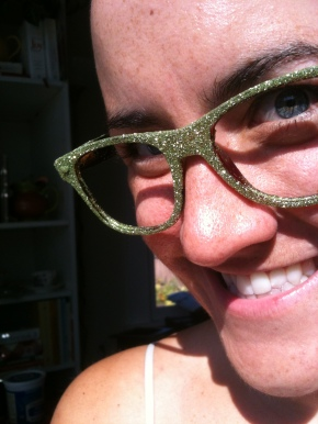 I think my heart needs glasses...green glittered glasses.